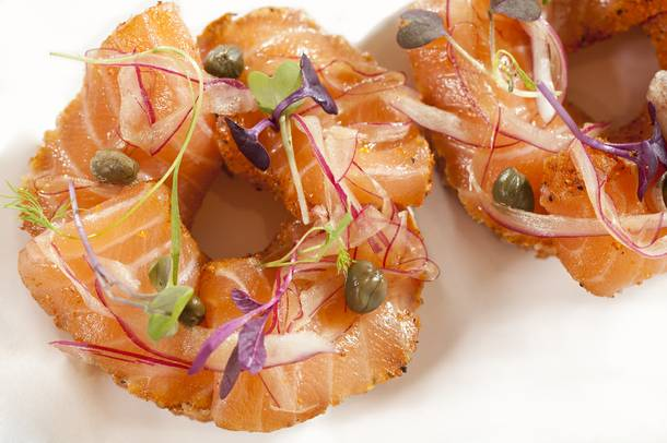If you find yourself a guest at the Nobu Hotel, start your day with this playful, delicious twist on lox and bagels.