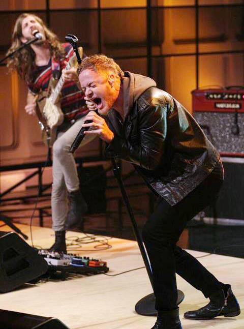 Imagine Dragons singer Dan Reynolds—husband to Niko Vega's Aja Volkman—performs on <em>The Tonight Show with Jay Leno</em>.