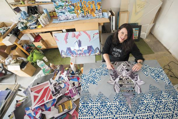 Artist Erin Stellmon, working on her upcoming show at Trifecta Gallery.