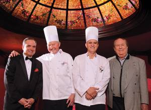 Credit for the classic experience at Michael's goes to (from left) maitre d' Jose Martel, executive chef Fred Bielek, assistant chef Mario Fernandez and manager Steve Delmont.