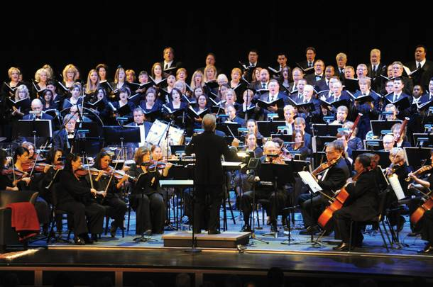 The Las Vegas Philharmonic, performing here with the Las Vegas Master Singers, is one of two resident companies at the Smith Center's Reynolds Hall.