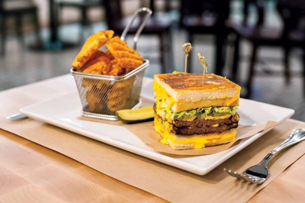 The fatty melt: a double decker burger and grilled cheese sandwich hybrid at Citizens Kitchen & Bar.