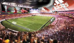 Field of dreams: A rendering of the proposed $800 million, 60,000-seat UNLV Now stadium.