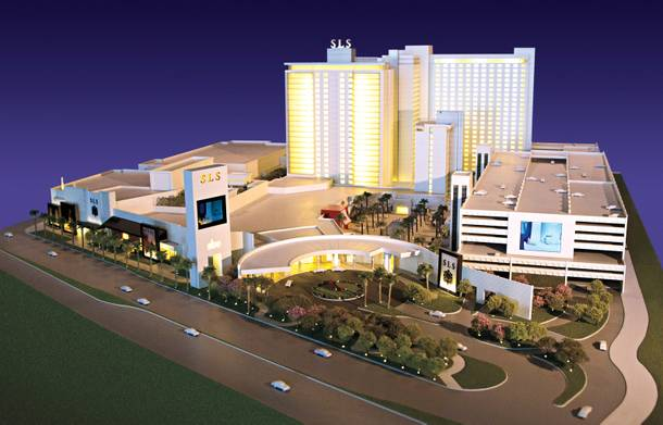 Work began last month to transform the Sahara into the SLS Las Vegas. A model of the property is pictured.
