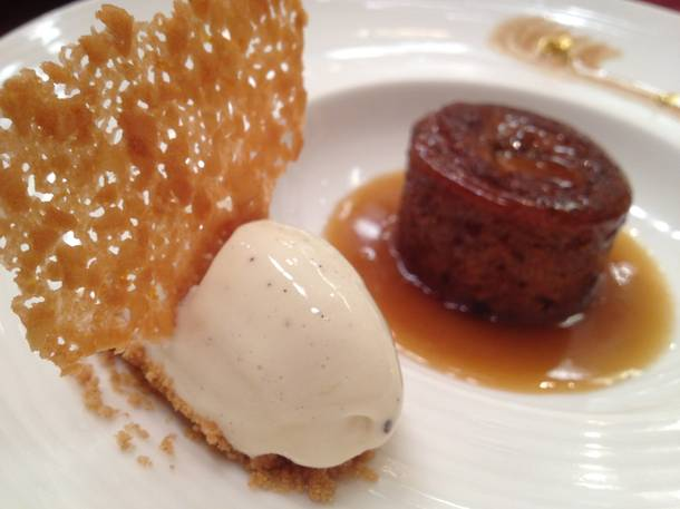 The reason England has culinary clout around the world: sticky toffee pudding. Bellagio's head pastry chef Carlos Salazar did the Gordon Ramsay special proud.