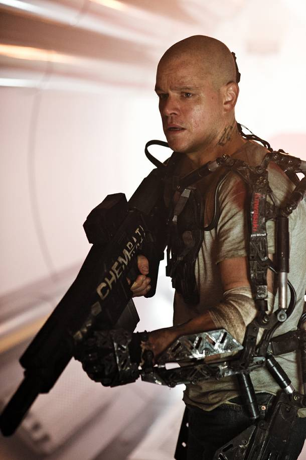 Elysium's Matt Damon prepares for battle.