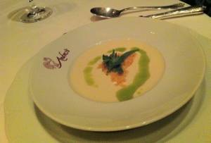 White asparagus soup at Andre's.