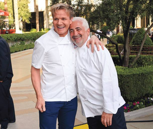 Gordon Ramsay and Guy Savoy do the red carpet at the Vegas Uncork'd Grand Tasting at Caesars Palace.