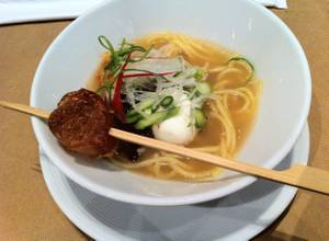 Wagyu broth ramen with crispy beef tendon at Stripsteak's Japanese beef and whiskey event.