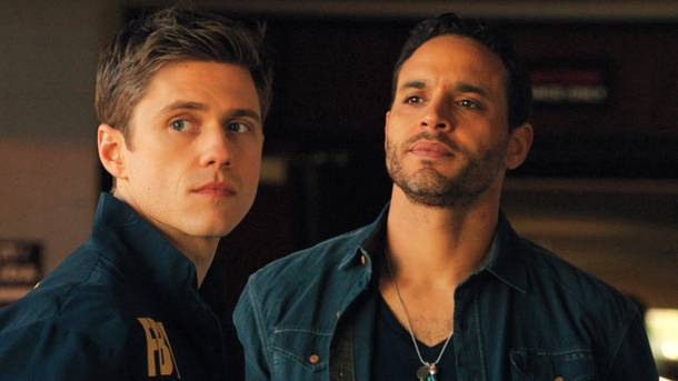 Aaron Tveit and Daniel Sunjata in Graceland.