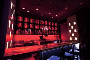 Specialty cocktails and infused vodkas and tequilas make the menu at sexy Scarlet.