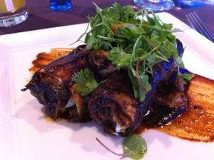 The second course at Border Grill's June 6 tequila dinner: duck confit enchiladas with smoked gouda cheese, chanterelle mushrooms and bing cherry <em>mole</em>.