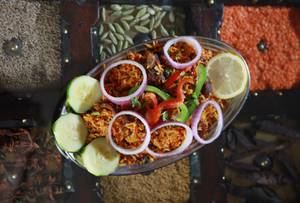 Looking for an exotic bite? Try the goat <em>biryani</em>.