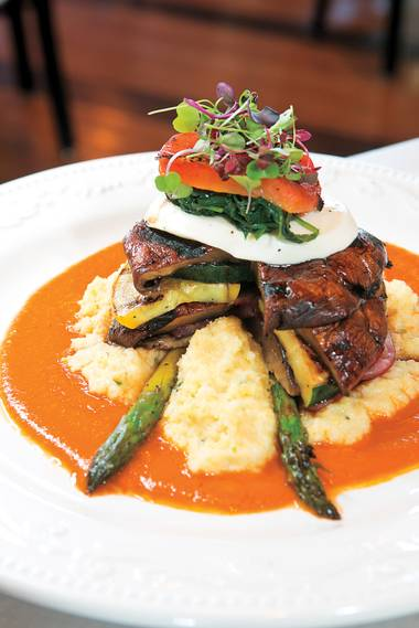 The grilled vegetable tower at Carlos' Kitchen.