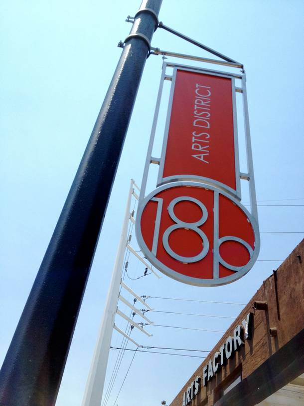 One of the recently installed 18b signs in the Arts District.