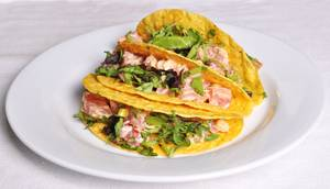 The Ainsworth's tasty tuna tacos, with guacamole and red chili vinaigrette.