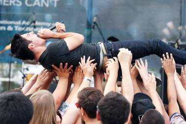 So extreme: Alaska and singer Elliott Rivera will crowd surf from California to Chicago this summer.