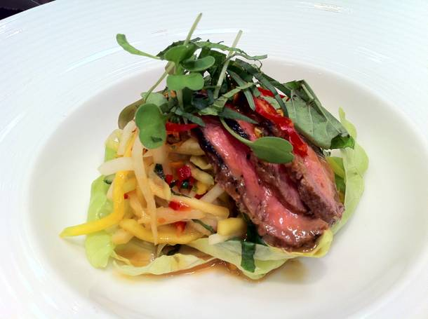 The feast began with a perfect Thai beef salad featuring marinated, grilled flank steak.