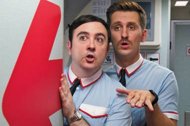 The male flight attendants in I'm So Excited! are eager to lip-sync to Pointer Sisters songs.