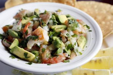 Avocado-laced seafood ceviche at Juan's Flaming Fajitas & Cantina.