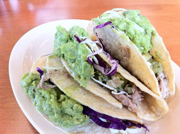 Smoky, salty kalua pig tacos at the new Braddah's Island Style.