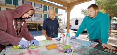 Local artist Alexander Huerta offers art classes at Shannon West Homeless Youth Center twice monthly.