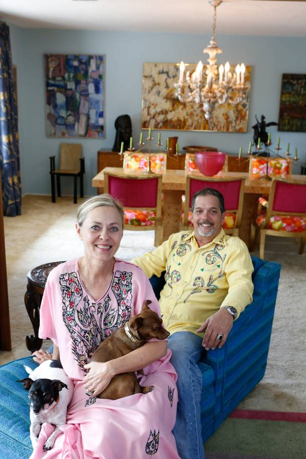 Kate Aldrich and Tim Shaffer, owners of Patina Decor, pose with their dogs Frida and Petra in their Downtown Las Vegas home.