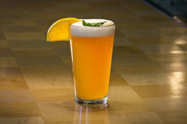 Aperol and basil give the classic beer-lemonade combo an autumnal twist.