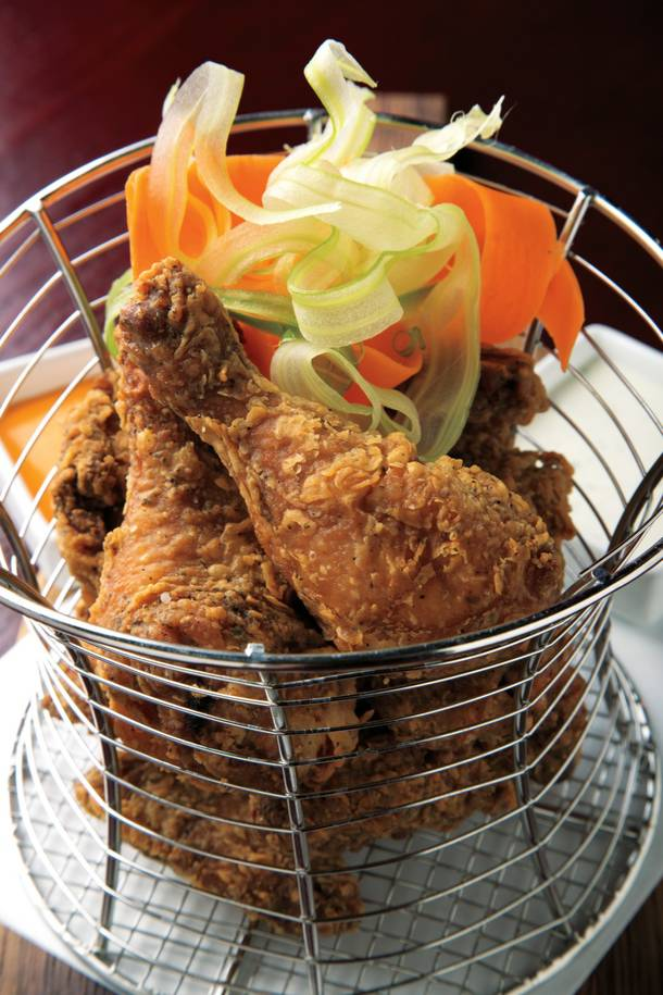 The Rx Boiler Room version of wings is lovely, crispy fried game hen served with vegetable ribbons and dipping sauces of blue cheese and hot sauce.