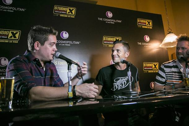 The Killers are interviewed at Brass Lounge as part of X107.5's Studio X Live acoustic sets during the Life Is Beautiful Festival.