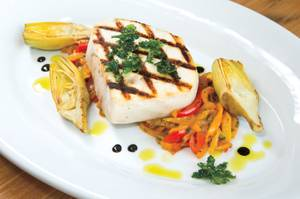 Buddy V's has some lighter dishes, including grilled swordfish peperonata.