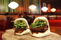 Fat Choy's bao stuffed with pork belly.