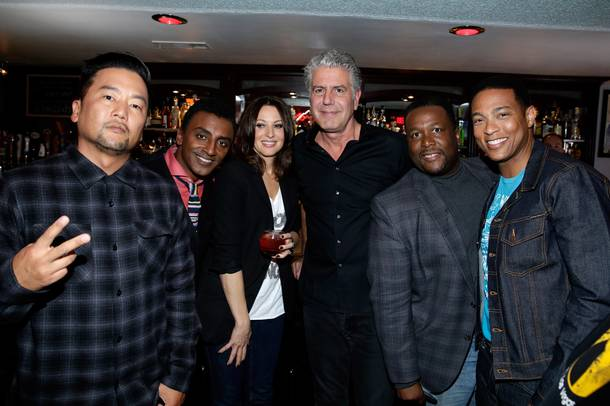 Roy Choi, Marcus Samuelsson, Bonnie McFarlane, Anthony Bourdain, Wendell Pierce and Don Lemon at Atomic Liquors.