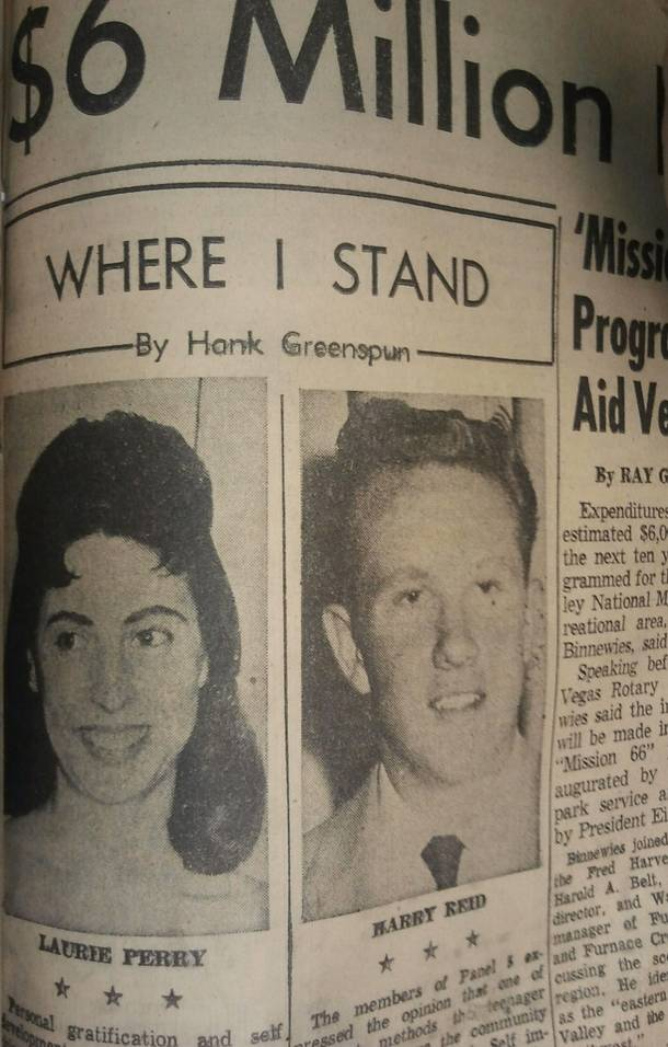 U.S. Senator Harry Reid and former Lieutenant Governor of Nevada Lorraine Hunt-Bono (then Laurie Perry) shared the front page of the Las Vegas Sun on December 7, 1956, after being chosen to write editorials for the publisher Hank Greenspun's