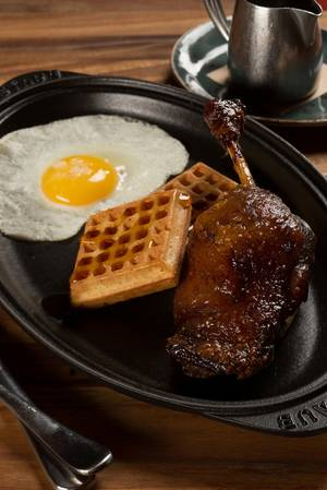 Duck and waffles and maple-bourbon syrup? Let's drool together.