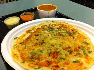 A different late-night pancake: India Masala's tasty <em>uthappam</em>.