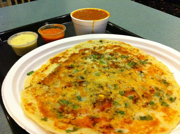 A different late-night pancake: India Masala's tasty uthappam.