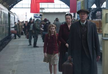 From let, Sophie Nélisse, Emily Watson and Geoffrey Rush star in The Book Thief.