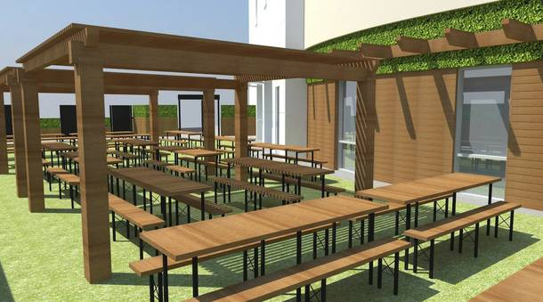 A rendering of Bier Garten's outdoor garden space.