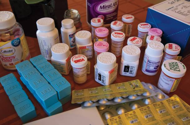 Jenny's meds, which include three immunosuppressants, five blood pressure medications and others for her stomach and hormones.