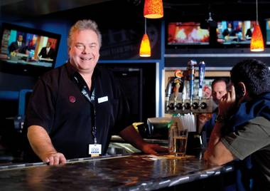 What'll you have? McCarran's Gary Cymerman dispenses wisdom and Bud Light.
