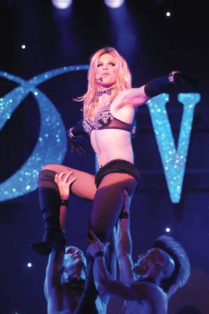 Derrick Barry performs as Britney Spears in <em>Divas Las Vegas</em>.