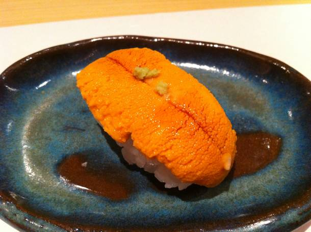 A bite of fresh sea urchin at Kabuto.