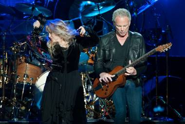 Stevie Nicks and Lindsay Buckingham, performing Monday at the MGM Grand Garden Arena.