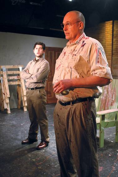 Taylor Hanes, right, and Cory Goble star as painter Mark Rothko and his fictional assistant in Onyx Theatre's Red.