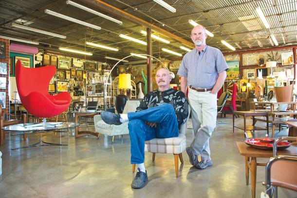 Interior redecorating: Retro Vegas owners Marc Comstock (left) and Bill Johnson are staying put on Main Street.