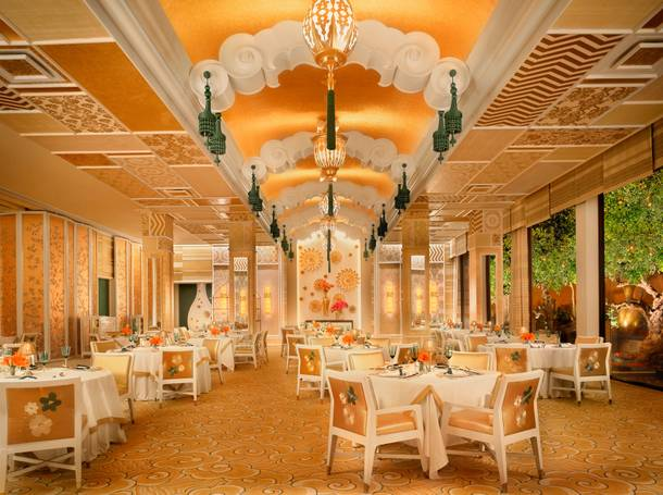 Wing Lei's updated, gold-and-jade dining room.