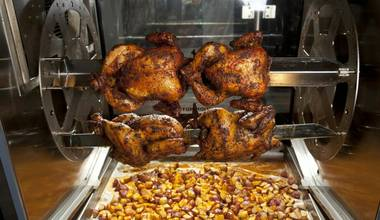 The Latin-tinged food court at Downtown Grand offers excellent rotisserie bird.