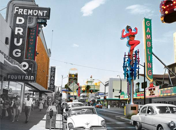 Fremont East, pictured today and in 1960. The Sears is now Backstage Bar & Billiards. J.C. Penney is now Emergency Arts.