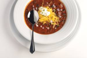 The ham hock black bean chili at Lagasse's Stadium.